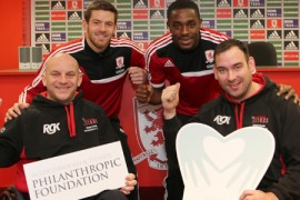 Boro stars Mustapha Carayol and Lukas Jutkiewicz with Philanthropic Foundation patrons, Paul Davison of Erimus Insurance Brokers and Dave Henderson of px Group, visited Tees Valley Wheelchair Sports Club who topped the last £10,000 Goalden Giveaway poll.